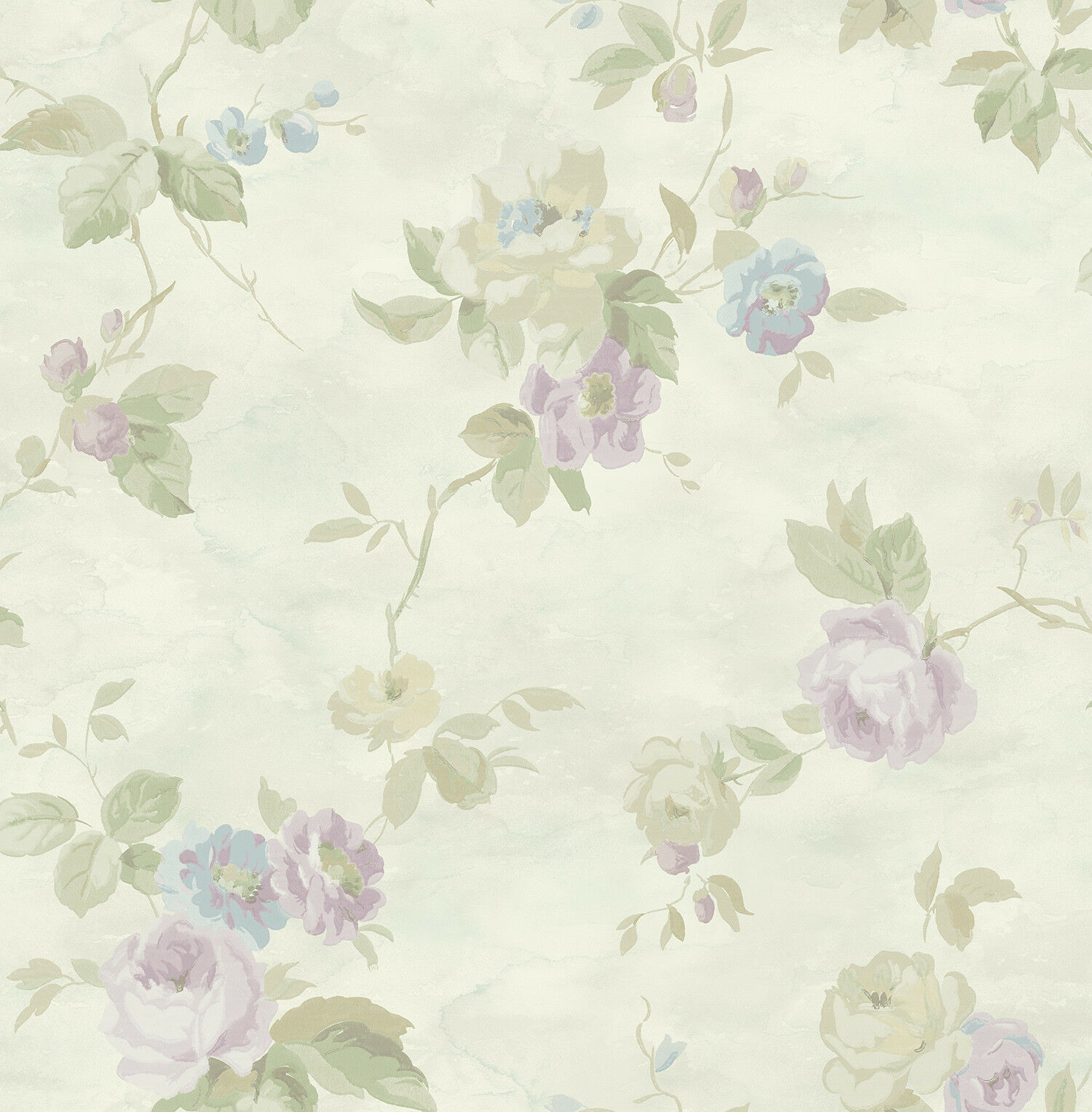Floral Wallpaper Blue Chinoiserie Vintage Cream Purple Samples