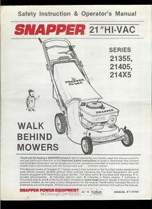 rare snapper 21 hi vac 21355 21405 214x5 walk behind mowers owner s rh ebay com snapper rear engine mower owner's manual snapper rear engine mower owner's manual