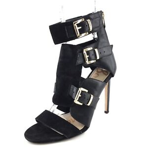 9d0aa7bbafa03f Image is loading Sam-Edelman-Alba-Black-Suede-Leather-Strappy-Sandals-