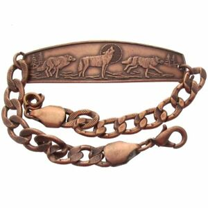 Solid-Copper-Bracelet-Wolf-Howling-Wolves-Running-Handmade-Arthritis-Jewelry-New