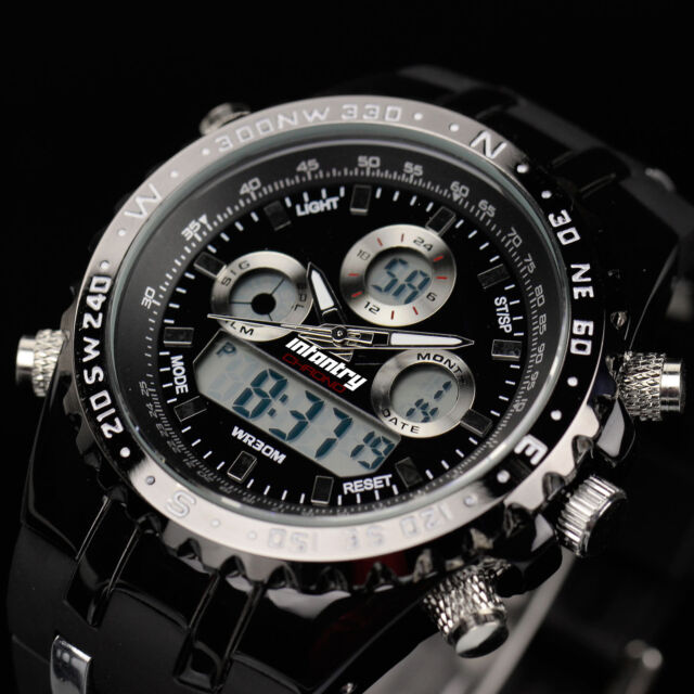 INFANTRY Mens Digital Quartz Wrist Watch Chronograph Military Sport Black Rubber