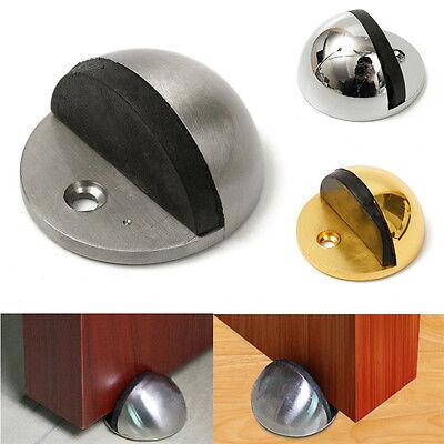 Rubber Door Stop Holder Wall Floor Mount Door Stopper Wedge Nickel/Chrome Screws
