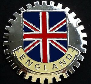 ENGLAND CREST GRILLE BADGE CHROME EMBLEM LONDON