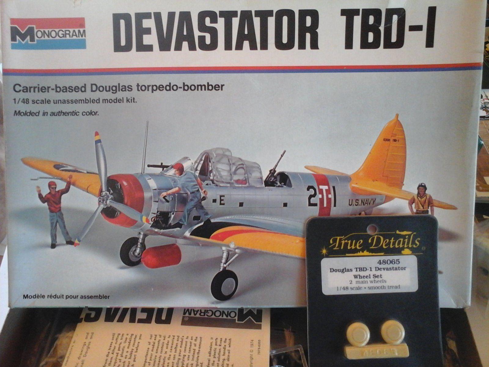 DEVASTATOR TBD-1 TORPEDO BOMBER 1 48 SCALE MONOGRAM MODEL+ RESIN WHEEL
