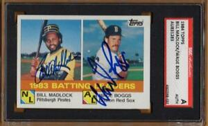 1983 BATTING LEADERS signed BILL MADLOCK & WADE BOGGS - 1984 topps #131