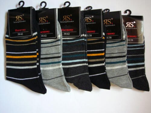 """11987 6 Paar Ringel-Socken Gesundheitssocken /""""Komfortbund/"""" 80/% BW Gr.35-42"""