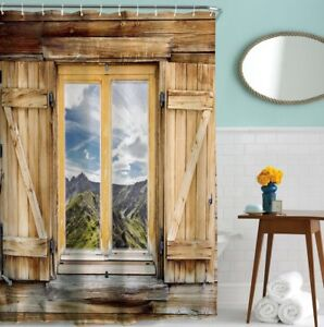 Image Is Loading Shower Curtain Wooden Barn Door Rustic Nature Mountain