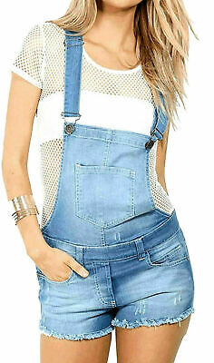 Qualifiziert New Women's Ladies Frayed Denim Light Wash Shorts Dungaree Jumpsuit Play Suit