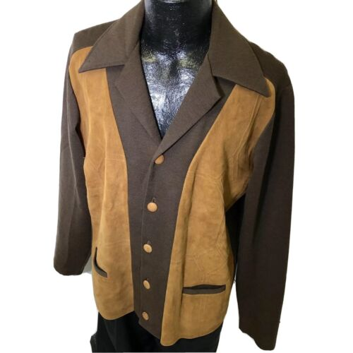 Vtg 50's Tundra 2-Tone Suede Leather PANEL Wool RO