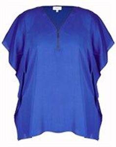 Long-Batwing-Sleeve-Zipper-Neck-Line-Blue-Ladies-Tunic-Size-20-Free-Post