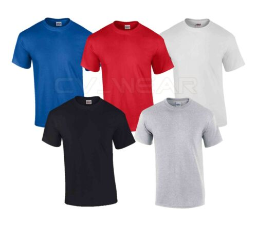 5 PACK GILDAN COTTON T SHIRT TOP TEE OF PLAIN GIFT HOLIDAY TSHIRT SUMMER HEAVY