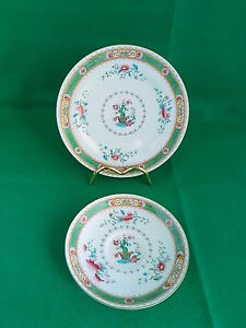 Royal-Doulton-Green-Scroll-Floral-Saucer-and-Plate