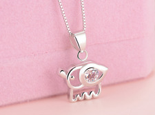 Elegant Micro-inlay 0.5 Cts CZ 925 Sterling Silver *Elephant* Pendant Necklace