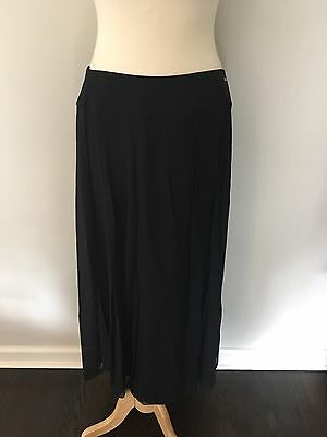 CHANEL Black Sheer Silk Chiffon Paneled Long Dressy Skirt Sz 42 Made In France