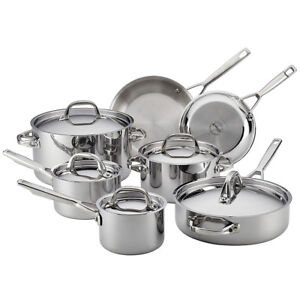 Anolon-Tri-Ply-Clad-Stainless-Steel-12-Piece-Cookware-Set-in-Silver