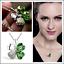 Versilbert-Strass-Kristall-FourLeaf-Clover-Kette-Anhaenger-Halskette-Geschen-B6V3 Indexbild 1