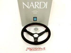 NARDI-350MM-STEERING-WHEEL-DEEP-CORN-SUEDE-RED-STITCH