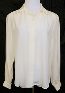 The-Villager-Shirt-Button-Front-Blouse-Ivory-Off-White-Long-Sleeve-sz-10-Vintage