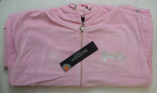 New Women Ladies Full Velour Tracksuit Hooded Top Bottom Trousers PlayGirl Print