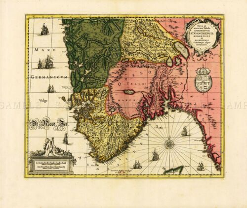 MAP ANTIQUE JANSSON 17TH CENTURY NORWAY OLD LARGE REPLICA POSTER PRINT PAM0948