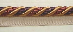 "1//2/"" Gimp 3 YDS Brown  Gold Fuchsia matched Brush Fringe Cording Beaded Frin"