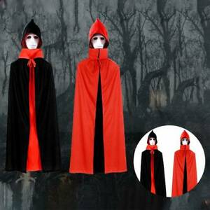 Halloween-Vampire-Cloak-Unisex-Cosplay-Cape-Long-Hooded-Witch-Medieval-Costume
