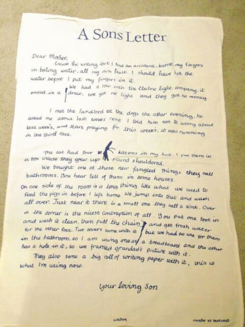 A Son;s Letter Cotton Tea Towel Taldor Made in Ireland @ W 18