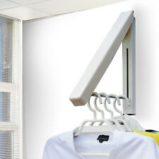 Folding Wall Mounted Retractable Laundry Rack Portable Clothes Coat Hanger Rack