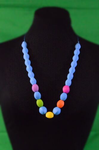 BPA Free BCIA Beads Blue w//colors Silicone Teething Necklace CPSIA Compliant