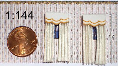 Pair of Dollhouse Open White Silk Drapes w//Gold Scallop Cornice 1:144 Scale
