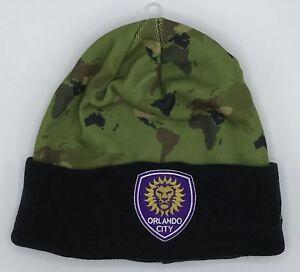 64ebdddb23050 MLS Orlando City SC Adidas Army Camo Cuffed Knit Hat Cap Beanie ...