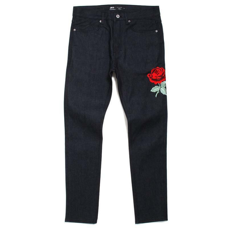 NWT Publish Brand Jeans Zachariah Floral pink Embroidery Skinny Raw Indigo 38