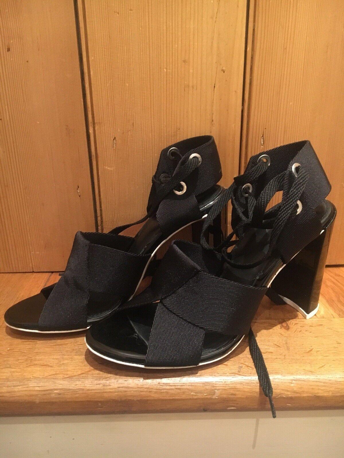 Topshop Unique Unique Unique Sandalias De Mujer Con Cordones Correa Negra Rara UK6   Nuevo Y En Caja  mejor reputación