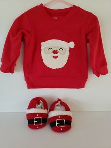 Carters-Infant-Unisex-Size-6-9-Months-Christmas-Santa-Red-Long-Sleeved-Shirt