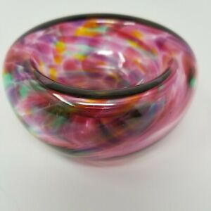 Hand-Blown-Multi-Pink-Faux-Tortoise-Shell-Glass-Art-Bowl-Signed-by-Artist