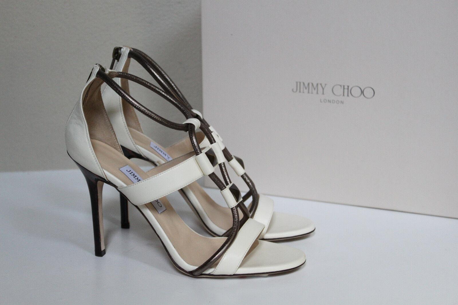 New Jimmy Sandals Choo Venus Tubular Weiß Leather Strappy Sandals Jimmy Heels schuhe sz 9   39 7d8d92