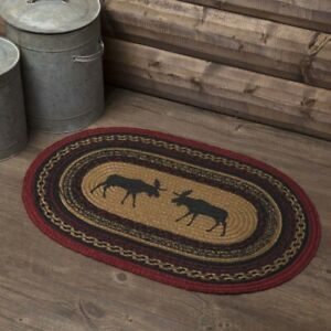 """VHC Brands Cumberland Rustic Stenciled Moose Jute Oval Rug w Non-slip Pad 20x30"""""""