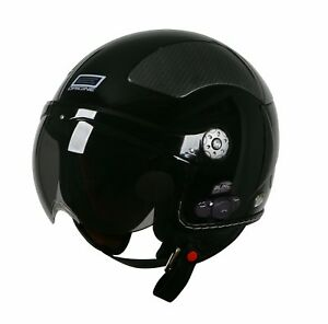 ORIGINE-BLUETOOTH-GLOSSY-BLACK-OPEN-FACE-MOTORCYCLE-HELMET-DOT-XS-XL