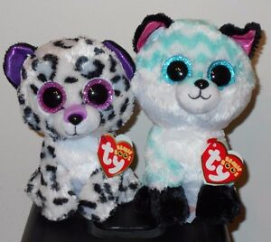 "Ty Beanie Boos - PIPER (Fox) & VIOLET (Leopard) 6"" (Claire's Exclusive) NEW MWMT"