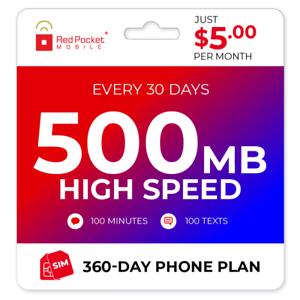 $5/Mo Red Pocket Prepaid Wireless Phone Plan+Kit: 100 Talk 100 Text 500MB