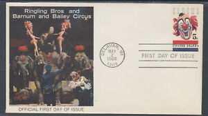 US-Planty-1309-37-FDC-1966-5c-Circus-Ringling-Bros-FIRST-CACHET