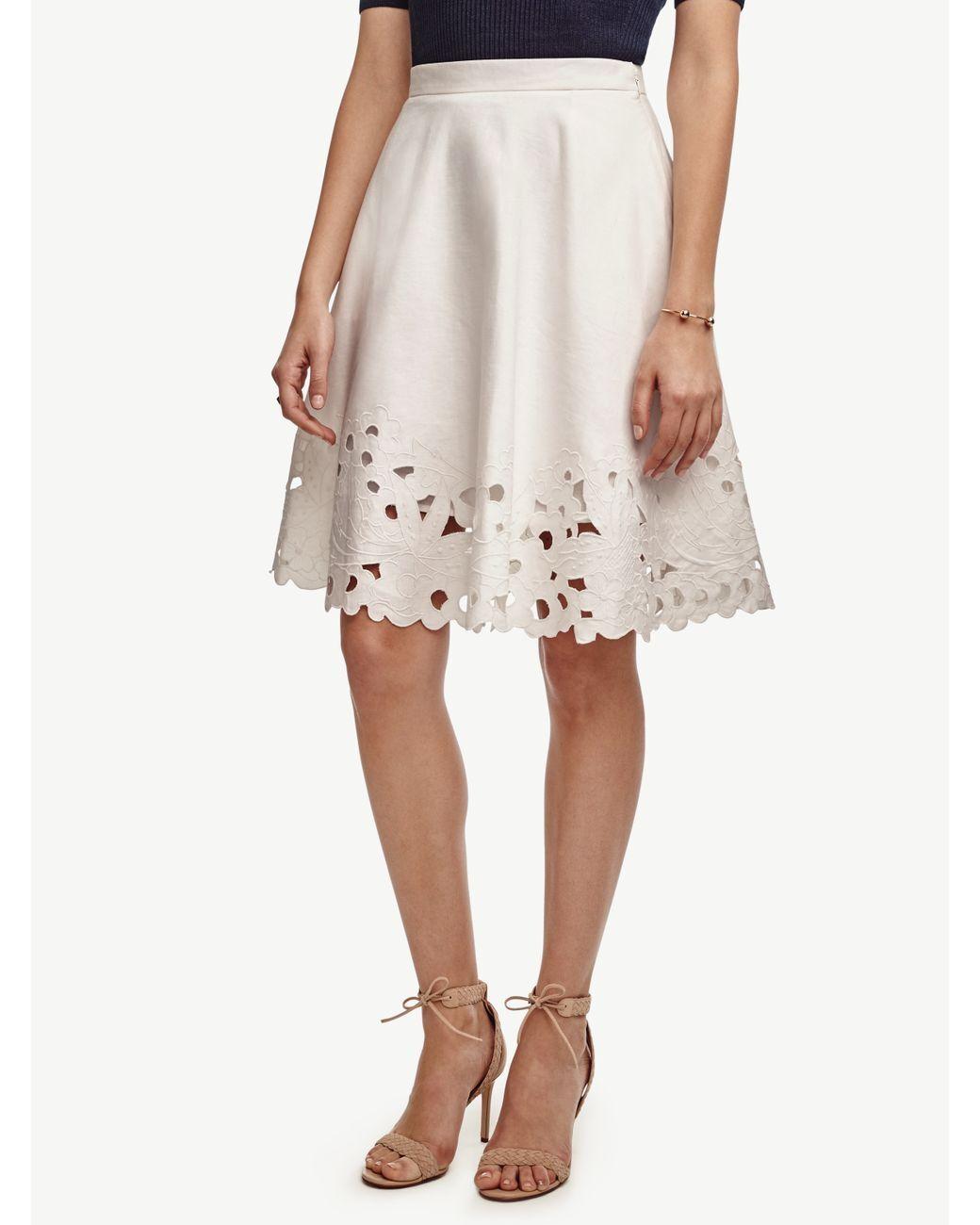 Ann Taylor - Regular White Embroidered Swing Skirt  129 (MH)