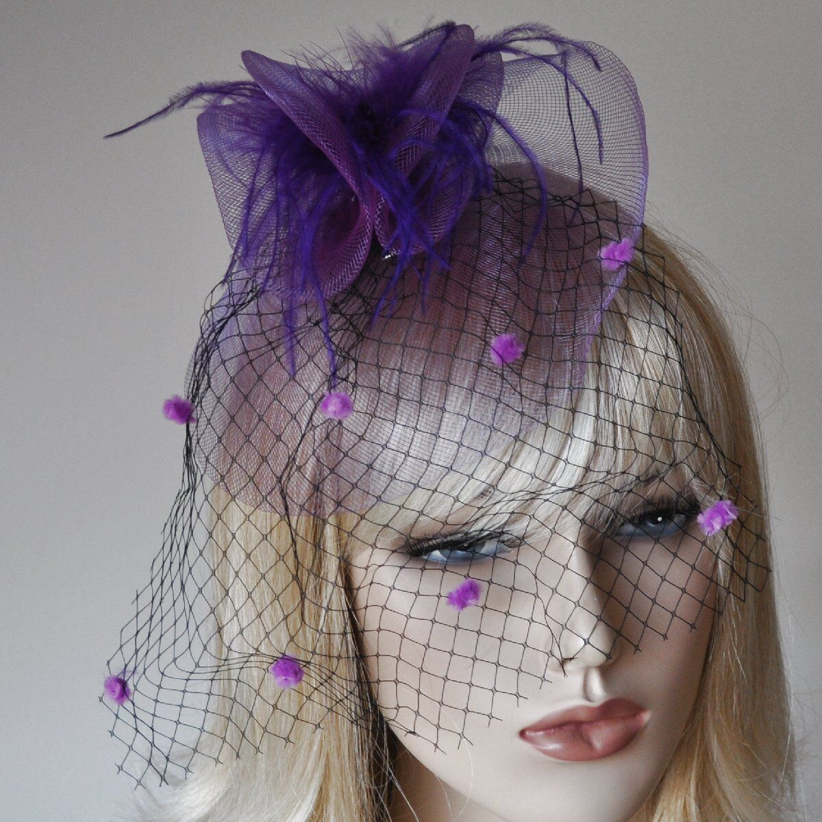 Hair Gesteck Purple Lilac Fascinator Veil Dots Hair Accessories Net Feathers
