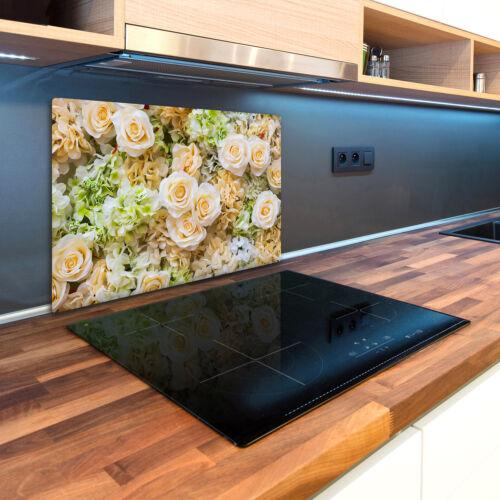 Glas-Herdabdeckplatte Ceranfeldabdeckung Spritzschutz 80x52 Rosen