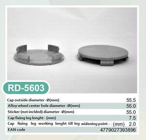 4x Außen 55,5mm Innen 55,0mm Nabenkappen Felgendeckel Radnabendeckel Grau NoLogo