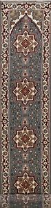 Geometric-Heriz-Oriental-Hand-knotted-Runner-Rug-Wool-Palace-Size-Carpet-3x19-ft