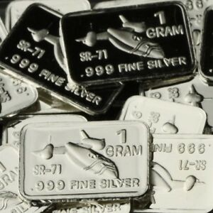 Lot-of-30-X-1-Gram-999-Fine-Silver-Bar-SR-71-Blackbird-WPT454-oz