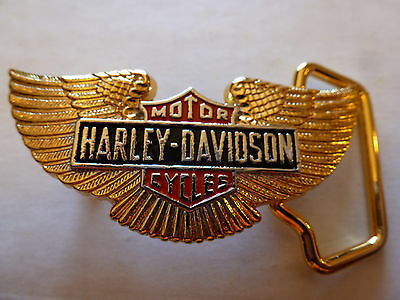 1983 SOLID BRASS GOLD PLATED HARLEY DAVIDSON WINGS SMALL DRESS BUCKLE