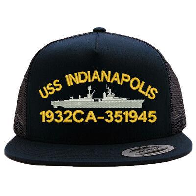 MESH TRUCKER SNAP CLOSURE CAP HAT USS INDIANAPOLIS 1932 CA-35 1945 BATTLESHIP