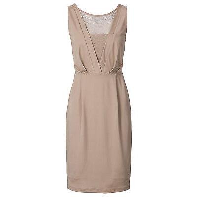 Schickes Jersey Kleid mit Dekosteinen in Nude - Gr. 40 / 42 - Q3508 - 906057